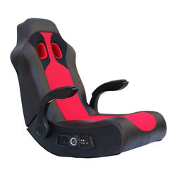 "Ace Bayou - Ace Bayou X-Rocker Vibe Sound Chair with Arms in Black/Red - X Rocker Vibe Black/Red.  Bluetooth Sound Video Rocker 2.1 Sound Chair features a durable PU seating surface and polyester back.  Full 2.1 bluetooth stereo sound with subwoofer.  Ergonomic seating position with arms.  Side facing speakers hidden in shoulder. Great for reading, playing video games, watching TV, relaxing.  With separate volume and bass controls.  Will play music from any source with headset or RCA outputs.  Approximate dimensions: L 33.46"" x W 24.41"" x H 32.08"""