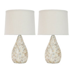 Safavieh - Safavieh Lauralie Ivory Shell Transitional Table Lamp X-2TES-A1104TIL - Fresh as an ocean breeze, the Lauralie Ivory Shell Lamp adds just the right touch of glimmer beside of sumptuously decorated a bed, or sophisticated sofa or chair. Crafted of natural capiz shell, the gourd-shaped base is accented with silver-finished metal neck and white hard back cotton shade. Lauralie's 3 way switch allows you to adjust brightness for mood and task lighting.
