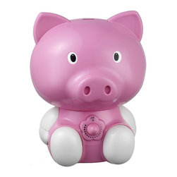 SPT Appliance - Pig Ultrasonic Humidifier - Cool mist (ultrasonic technology). High humidity output. Silent operation. Adjustable mist intensity. Auto shut-off protection (ultrasonic generator only . fan will continue to run). 1.8 liters tank capacity. Designed for rooms up to 450 sq. ft.. Moisture output up to 220 ml per hour. Operates up to 18 hours per filling . No-slip feet. Adorable design. ETL. No assembly required. 9.13 in. L X 8.25 in. W X 12.2 in. H (4 lbs.)Help your little ones breathe easier by adding moisture to the air with our adorable Pig humidifier. Provides year-round relief from the drying effects of AC and Heater. Features super-quiet operation, 1.8 liters tank capacity and auto shut-off protection (with no audible alarm) - the perfect addition to any child's room.