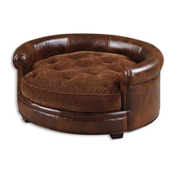 Uttermost - Uttermost Lucky Designer Pet Bed 23025 - Man's best friend deserves to have a stylish and comfortable bed also and here you have it. This bed features durable, brown imitated leather with a plush, russet brown cushion that is tufted and reversible, and buckles to the hardwood frame.
