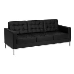 Flash Furniture - Flash Furniture Hercules Lacey Series Contemporary Black Leather Sofa - This attractive black leather reception sofa will complete your upscale reception area. The design of this sofa allows it to adapt in a multitude of environments with its button tufted cushions and stainless steel frame. [Z-BLACEY-831-2-SOFA-BK-GG]