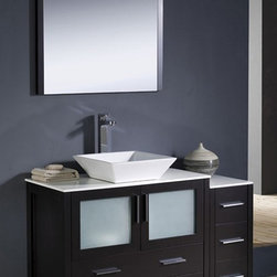 Fresca - Torino 48 in. Modern Bathroom Vanity w Vessel Sink (Soana Brushed Nickel) - Choose Included Faucet: Soana Brushed NickelP-trap, Faucet, Pop-Up Drain and Installation Hardware Included. Single Hole Vessel Faucet Mount (Faucet Shown In Picture May No Longer Be Available So Please Check Compatible Faucet List). No overflow. Sink Color: White. Finish: Espresso. Sink Dimensions: 16 in. x16 in. x5 in. . Mirror: 31.5 in. W x 31.5 in. H x 1.25 in. D. Materials: Plywood w/ Veneer, Ceramic Sink. Vanity: 47.5 in. W x 18.13 in. D x 35.63 in. HFresca is pleased to usher in a new age of customization with the introduction of its Torino line. The frosted glass panels of the doors balance out the sleek and modern lines of Torino, making it fit perfectly in either Town or Country decor. Available in the rich finishes of Espresso, Glossy White and Light Oak, all of the vanities in the Torino line come with either a ceramic vessel bowl or the option of a sleek modern ceramic undermount sink.