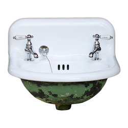 Consigned Refinished 1923 Rounded Wall Mount Cast Iron Bath Sink Original Patina - Refinished 1923 American Standard Rounded Wall Mount Cast Iron Bathroom Sink Original Patina