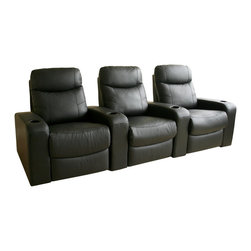 Baxton Studio - Baxton Studio Cannes Home Theater Seats (3) Black - Plush polyurethane foam cushions, hardwood construction,  Leggett & Platt style reclining mechanism, plastic cup holders as added value, top grain leather on all the seating surfaces, vinyl leatherette matched to the back and sides.