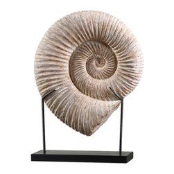 Uttermost - Uttermost Kaleho Shell Sculpture 19778 - Natural looking shell on a matte black metal base.