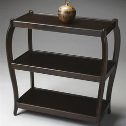 Butler - 34 in. Modern Console Table (Rubbed Black) - Finish: Rubbed BlackThree disply shelves. Rubbed black finish. 34 in. W x 17.5 in. D x 36 in. H (50 lbs.)