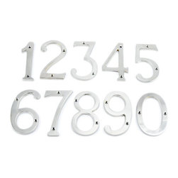 Satin Nickel Traditional House Numbers - These Satin Nickel house numbers complement any style of home, and are made of the highest quality solid brass.