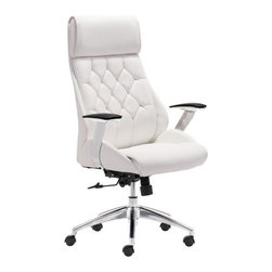 Boutique Office Chair, White - Leatherette & Chromed Steel.