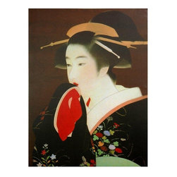 """Oriental Furniture - Geisha Canvas Wall Art - This beautiful wall art print is a colorful reproduction an unattributed Japanese wood block of a 19th century Geisha, queen of the """"floating world"""", the Ukiyo. Writers have been moved by the institution of the Geisha for hundreds of years; hang this bright beautiful artwork in your home or office. Each piece is carefully cropped, formatted, and printed onto a art quality canvas, then fitted and stretched onto pine frame for easy wall mounting. Amazingly affordable, outstanding quality wall art shipped right to your door."""