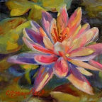 """""""Risa's Pond""""  (Original) by Chris Brandley - The beautiful floating flower that emerges from the depths of a muddy swamp reminds me that we can triumph in difficult circumstances when we rely on Christ."""
