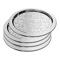 Alessi - Alessi 'Dressed' Coaster Set - Avoid table rings on your beautiful wood furniture without sacrificing elegance. Your guests will have no excuses for not using coasters with this shiny, stainless-steel coaster set from designer Marcel Wanders.