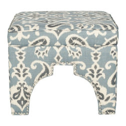 Safavieh - Grant Ottoman - Blue/ Grey & Off White Print - Rest your feet on the globally-inspired Grant ottoman with Moorish arch cutout outlined in handsome silver nailheads. Beautifully upholstered in a blue, grey and off-white paisley pattern in a blend of linen and cotton, this fashionable ottoman is crafted of sturdy wood. Equally good looking alone or in pairs, Grant combines comfort and style in the living room, family room or bedroom.