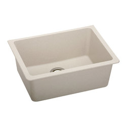 """Elkay - Elkay ELGU2522BQ0 Bisque E-Granite Gourmet E-Granite 25""""(L) x - Elkay Gourmet E-Granite 25""""(L) x 18-1/2""""(W) Single Basin Undermount Kitchen Sink Molded from Elkay E-Granite which is up to 85% natural quartz and high performance acrylic resins. E-Granite is non-porous and resists staining. E-Granite is hard enough to resist scratches and chips. The color is solid throughout the sink and is UV resistant to prevent color-fading in indoor applications. Universal mount sinks can be installed as a Top mount or undermount. Both types of clips are provided. Product Features:  Undermount Single basin sink e-Granit Naturally sound deadened Heat resistant  Product Specifications:  Installation Type: Undermount Material: E-Granite Number of Basins: 1 Minimum Cabinet Size: 30"""" Sink Dimensions: 25"""" L x 18-1/2"""" W Bowl Depth: 9-1/2"""" Bowl Dimensions: 22-3/8"""" L x 16-3/8"""" W x 9-1/2"""" D Faucet Holes: 0 Drain Size: 3-1/2"""" Ship Wt: 41 lbs  Product Certifications and Compliances:  ANSI/NSF61 - Certified ASME 112.18.1/CSA B125-01 IAPMO Listed"""