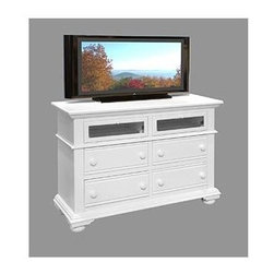 American Woodcrafters - Cottage Traditions Entertainment Chest - Four 14.5 in. deep drawers. Felt bottoms in the top two drawers for added protection. English dovetail on drawer fronts and backs. Center guided metal on metal drawer glides with plastic drawer stops. Two hinged drop down doors with beveled glass. Dust proofing on bottom drawers for added protection. Tip resistant furniture safety bracket. Grommets in back panel for wire and cord management. Wooden knobs. Mortise and tenon construction. Made from select hardwood solids and medium density fiber board. Eggshell white finish. No assembly required. 52 in. W x 18.75 in. D x 37 in. H (114 lbs.)Bring instant charm and warmth to your bedroom with Cottage Traditions' entertainment chest from American Woodcrafters.