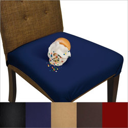 SmartSeat Chair Protector - SmartSeat Dining Chair Seat Cover and Protector, Midnight Navy Blue - The SmartSeat chair protector is the better way to protect your dining room and kitchen chairs from stains and spills. The SmartSeat chair protector is a waterproof, stain resistant and machine washable cover. It provides the same protection as vinyl covers with the benefits of soft and comfortable fabric. The cover is easy to use and fits most chair styles and sizes. Adjustable straps securely attach the cover to your chair. Use it at mealtime, for arts and crafts, to protect from pets, or leave it on for a clean and attractive look. Available in five wonderful colors: Sandstone Tan, Chocolate Brown, Metro Black, Burgundy Red and Midnight Navy Blue. Fit will vary based on size and style of chair. Optimal fit requires a chair with legs (as opposed to a center pole, as with a swivel office chair) or back rails around which the cover can be secured. While the cover will adequately protect chair upholstery on small chairs, the cover will not fit as snuggly as it does on larger chairs. U.S. Patent No. 8,414,071. THE PRICE IS FOR A SINGLE COVER.