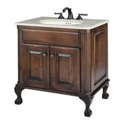 Cole + Co. Large Estate Bathroom Vanity in Antique Brown - The Estate offers a premium look in hand-crafted vanities. Made of hardwood solids and veneers that have been hand-finished in an antique brown this vanity will become the focal point of any bathroom. Its ball-and-claw legs set the Estate apart as a work of art in bathroom design. Each vanity has been treated with two coats of conversion varnish which makes it a durable piece of furniture that is meant to last for many years. This vanity offers style with variety to create the exact look you desire for your bathroom. Select the counter top faucet set and sink that best matches your decor. The faucet sets are available in two styles and finishes and made with the highest quality materials. The countertops are made of rich marble that will last a lifetime. Under mount sinks are made of vitreous china or copper and include sink clips. Professional installation is recommended.