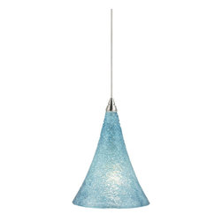 Tech Lighting - MO2Sugar Pend aqua, ch - Streams of glass piping formed into a graceful glass shade. Includes lowvoltage, 50 watt halogen bipin lamp or 6 watt replaceable LED module and six feet of fieldcuttable suspension cable.