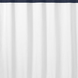 Sweet Jojo Designs - Sweet Jojo Designs White and Navy Hotel Shower Curtain - Upgrade your bathroom decor with this white shower curtain from Sweet JoJo Designs. This classic curtain features a solid/stripe pattern and is designed to coordinate with other pieces in its collection. This cotton piece is also machine washable.