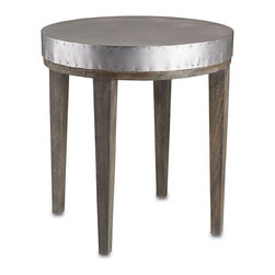 "Currey and Company - Wren Table, 24""d - With a nod to both industrial and chic references, this large accent table has a round metal top with rivet details around the edges. There are four gray, square, tapered solid wood legs with white patina."