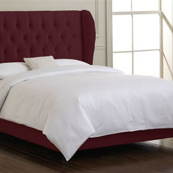 Skyline Furniture - 54.5 in. Plush Tufted Bed w Foam Padding in B - Choose Size: QueenPlush tufted wingback. Upholstered in soft velvet. Adjustable legs. Plush foam padding. Fits standard sized mattresses. Made from 100% polyester. Made in USA. Assembly required. Full: 78 in. L x 62 in. W x 54.5 in. H (113 lbs.). Queen: 83 in. L x 68 in. W x 54.5 in. H (117 lbs.). King: 83 in. L x 84 in. W x 54.5 in. H (134 lbs.). Cal king: 87 in. L x 80 in. W x 54.5 in. H (130 lbs.)