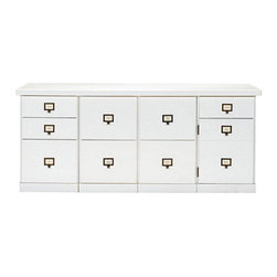"""Ballard Designs - Original Home Office 4-Cabinet Credenza with Wood Top - Generous 66""""W work surface. File Storage Cabinets have full-extension glides. Open Storage Cabinets have coordinating basket options (sold separately). Crafted with solid wood frames & fine veneers. Swatches available. We invented the modular Original Home Office to give you total design flexibility. Each piece works with every other, so you can create an office that works perfectly for you. To customize your Credenza, choose any four cabinets from seven versatile options. Select a wood top to match your cabinet finish or zinc top with your choice of cabinet finish. Adjust the working height by adding an optional Plinth Base. Add a Small Open Base or 3-Drawer Hutch (see Hutches) to create vertical storage above. Finished on three visible sides and designed to stand against the wall. See all your options below. 4-Cabinet Credenza features:  . .  . . . Download free Design Guide above. Download free drawer label templates above."""