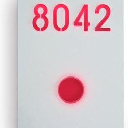 Illuminated Number Sign White By Luxello LED - The Illuminated Number Sign system is finished in powder coated 316 stainless steel, it is part of a modern system for illuminated LED signs.