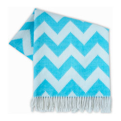 """Jonathan Adler - Jonathan Adler Zig Zag Light Blue Throw Blanket - Snuggle in style wrapped in this luxe throw blanket by modern design icon Jonathan Adler. Made from baby alpaca for an uber-soft hand, the fringed Zig Zag throw performs double duty accenting a sofa or bed with on-trend chevron. 63"""" x 63""""; Zig zag pattern in white and light blue; 100% baby alpaca (the finest shearing from an adult); Dry clean only; Hand-loomed by Peruvian artisans; Sustainably produced with Aid to Artisans, a non-profit organization that connects designers in America with artisans in developing countries to promote fair trade"""