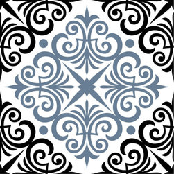 Odhams Press - Chartwell Blue RETile Decal, Clear Background - RETile decals can be used to accent or transform your existing ceramic, stone or glass tiles. They are easy to apply and can be removed in the future without leaving a sticky residue.