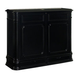 Crystal Pointe Black TV Lift Cabinet - Finished on all four sides, there's no mistaking the Crystal Pointe Black TV lift's classic design heritage with its intricately carved corner pillars, balanced proportions and finely crafted African Mahogany veneer. TV not included.