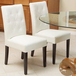 Christopher Knight Home - Christopher Knight Home Gentry Bonded Leather Ivory Dining Chair (Set of 2) - Add understated elegance to your dining room with this set of two contemporary dining chairs from Gentry. Made of espresso-colored wood and covered with ivory bonded leather, this set will provide extra seating that matches most modern design schemes.