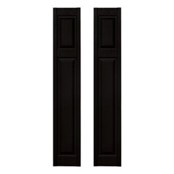 Builders Edge - Cottage Style Raised Panel Shutters in Black - Choose Size: 12 in. W x 1 in. D x 67 in. H (9.4 lbs.)Color matching Shutter-LOK fasteners included. Constructed with color molded-through vinyl so they will not scratch, flake, or fade. Durable, maintenance-free U.V. stabilized, deep wood grain texture. Made in the USA