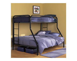 Ameriwood - DHP Twin over Full Bunk Bed in Black - Ameriwood - Bunk Beds - 3136096 - Simple sleek secure stable and space-saving DHP's Dorel Twin-Over-Full Metal Bunk Bed meets all your needs and expectations. Easy to assemble the bunk bed has been designed for the utmost safety providing full-length guardrails and a ladder that attaches to the frame. Accommodating one full and one twin mattress the black metal frame will last through years of rough play whether hosting twins friends family or siblings.