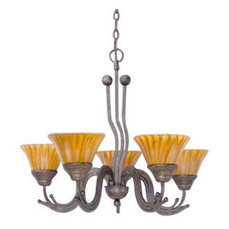 "Toltec - Toltec 225-BRZ-509 Bronze Finish 5-Light Uplight Chandelier with 7"" Tiger Glass - Toltec 225-BRZ-509 Bronze Finish 5-Light Uplight Chandelier with 7"" Tiger Glass"