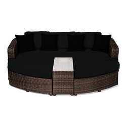 "Reef Rattan - Reef Rattan 4 Piece Day Bed Set - Chocolate Rattan / Black Cushions - Reef Rattan 4 Piece Day Bed Set - Chocolate Rattan / Black Cushions. This patio set is made from all-weather resin wicker and produced to fulfill your needs for high quality. The resin wicker in this patio set won't fade, shrink, lose its strength, or snap. UV resistant and water resistant, this patio set is durable and easy to maintain. A rust-free powder-coated aluminum frame provides strength to withstand years of use. Sunbrella fabrics on patio furniture lends you the sophistication of a five star hotel, right in your outdoor living space, featuring industry leading Sunbrella fabrics. Designed to reflect that ultra-chic look, and with superior resistance to the elements in a variety of climates, the series stands for comfort, class, and constancy. Recreating the poolside high end feel of an upmarket hotel for outdoor living in a residence or commercial space is easy with this patio furniture. After all, you want a set of patio furniture that's going to look great, and do so for the long-term. The canvas-like fabrics which are designed by Sunbrella utilize the latest synthetic fiber technology are engineered to resist stains and UV fading. This is patio furniture that is made to endure, along with the classic look they represent. When you're creating a comfortable and stylish outdoor room, you're looking for the best quality at a price that makes sense. Resin wicker looks like natural wicker but is made of synthetic polyethylene fiber. Resin wicker is durable & easy to maintain and resistant against the elements. UV Resistant Wicker. Welded aluminum frame is nearly in-destructible and rust free. Stain resistant sunbrella cushions are double-stitched for strength and are fully machine washable. Removable covers made with commercial grade zippers. Tables include tempered glass top. 5 year warranty on this product. Bench: W 85"" D 33"" H 25"", Ottoman (2): W 35.5"" D 33"" H 16"", Coffee Table: W 14"" D 33"" H 18"""