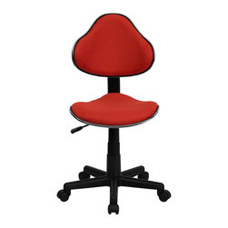 Flash Furniture - Flash Furniture Modern Ergonomic Task Chair in Red - Flash Furniture - Office Chairs - BT699REDGG - This attractive task chair features a contoured shaped seat and back with chrome metal band accent. Whether for the kids or for your home office, this chair will be a perfect addition. This chair will be a welcome and personal addition for any home office or home study area. [BT-699-RED-GG]