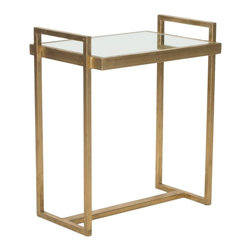 Safavieh - Noland Accent Table - Classic angles and stunning details make the Noland Accent Table a showstopper. Crafted with a gold-finish iron base and mirrored tabletop, its sophisticated style has made it a designer favorite.