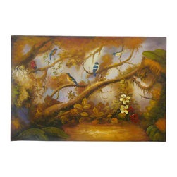 Golden Lotus - Oil Paint Canvas Art Birds Wall Decor - Oil painting on canvas.  ( ship in roll, no frame )