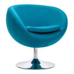 ZUO MODERN - Lund Arm Chair Island Blue - The Lund Chair takes its inspiration from modern European design and mixes it with American details such as the soft wool-like texture of the fabric and the vibrant color offerings.  The base is chrome with swivel.