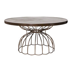 "Studio A - Florentine Round Dining Table - 60"" Dia. - Subtle gray-toned, pie-shaped marquetry forms the top of the Florentine Round Dining Table. A final matte topcoat gives it protection and added durability. The table top's metal rim and base are iron with an antique bronze finish."