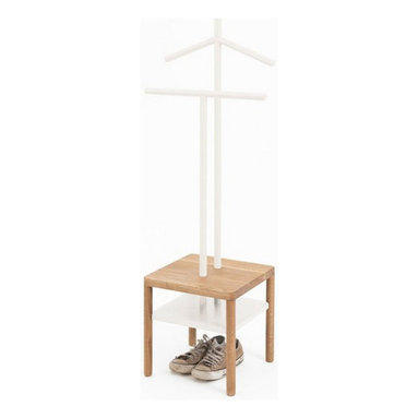 Modern coat rack, White - Two distinct objects, a stool and a valet, to create a unique and functional piece. The valets can be used for hanging clothes and stool as a tray to hold small objects.