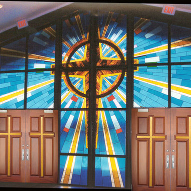 Church Stained Glass Windows - Pictured is the front entrance to Memphis Baptist Church in Dothan, Alabama.  The doors are Doors by Decora Door Style DbyD-7021. We built all of the decorative glass as well as the cross doors.