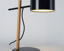 Roll & Hill - Roll & Hill Excel Desk Lamp - A spare and economical form, the Excel Desk Lamp is part of a new family of fixtures made from simple and elegant structures supporting illuminated shades.  Excel's hidden secret is a metallic reflector located inside the shade, which emits a warm light.  The full Excell family include the floor lamp, wall sconce and a series of chandeliers.  This lamp UL Listed and uses E26 Compact Fluorescent 60W bulbs.  Manufactured by Roll & Hill.Designed in 2008.