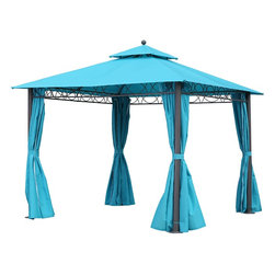 International Caravan - International Caravan St. Kitts 10-foot Canopy Double-vented and Drapes Square G - Add shade and a touch of style to your patio with the St. Kitts aluminum/polyester square gazebo,featuring a high-quality durable build. This gazebo also offers adjustable drapes,and a double-vented design for added comfort.