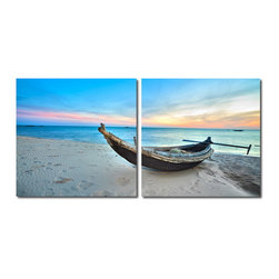 """Wholesale Interiors - Awaiting Waters Mounted Photography Print Diptych - The early morning sun welcomes a new day from the edge of the sea. Made in China with MDF wood frames, this two-piece modern wall art set features an image split in half and printed on two waterproof vinyl canvases. The Awaiting Waters Diptych is made in China and is fully assembled. Hardware for hanging on the wall of your choice is not supplied. To clean, wipe with a dry cloth. Product dimension: 19.68""""W x 1""""D x 19.68""""H."""