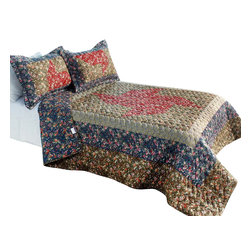 Blancho Bedding - Auspicious Windmill3PC Foral Vermicelli-Quilted Patchwork Quilt Set Full/Queen - The [Auspicious Windmill] Quilt Set (Full/Queen Size) includes a quilt and two quilted shams. This pretty quilt set is handmade and some quilting may be slightly curved. The pretty handmade quilt set make a stunning and warm gift for you and a loved one! For convenience, all bedding components are machine washable on cold in the gentle cycle and can be dried on low heat and will last for years. Intricate vermicelli quilting provides a rich surface texture. This vermicelli-quilted quilt set will refresh your bedroom decor instantly, create a cozy and inviting atmosphere and is sure to transform the look of your bedroom or guest room. (Dimensions: Full/Queen quilt: 90.5 inches x 90.5 inches Standard sham: 24 inches x 33.8 inches)