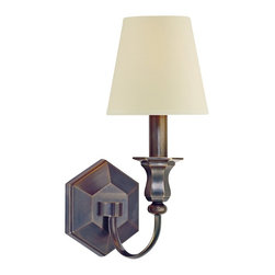 "Hudson Valley - Contemporary Charlotte 14"" High Old Bronze Wall Sconce - The warm tone of old bronze a beveled hexagon backplate and a graceful curved arm supporting a creamy white shade exemplify elegant simplicity in this classic wall sconce. Illuminate your favorite room with this beautiful design from Hudson Valley Lighting. Old bronze finish. Cream eco-paper shade. Takes one 60 watt candelabra bulb (not included). 14"" high. 5 1/2"" wide. Extends 7 3/4"" from the wall.  Old bronze finish.   Cream eco-paper shade.   Takes one 60 watt candelabra bulb (not included).   14"" high.   5 1/2"" wide.   Extends 7 3/4"" from the wall."