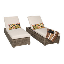TKC - Royal Chaise Set of 2 Outdoor Wicker Patio Furniture 2 for 1 Cover Set - The Royal wicker chaise lounge is available in a unique Vintage Stone colored full round resin weave over heavy duty rust-resistant powder coated aluminum frame.