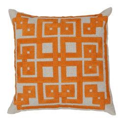 "Surya - Surya 18 x 18 Decorative Pillow, Oatmeal and Burnt Orange (LD003-1818P) - Surya LD003-1818P 18"" x 18"" Decorative Pillow, Oatmeal and Burnt Orange"