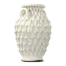 Kathy Kuo Home - White Ceramic Coastal Beach Style Large Textured Urn - A beautiful combination of texture and materials, crafted into a striking ceramic vase make this a standout addition to any room. Incorporating wheel and hand construction techniques, this soothing, ivory toned  piece evokes ancient worlds and the beauty of handcrafted craft.