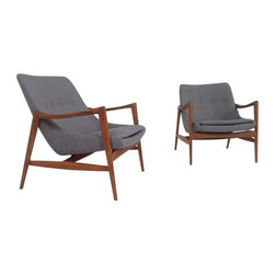 Used Mid-Century Gray Chenille Lounge Chairs - A Pair - Mid-Century Modern lounge chairs in the style of Ib Kofod-Larsen. Stunning lounge chairs, mid-century style at its finest!  Frames are alder with a light walnut finish. Gray chenille is new, never used. Wonderful Danish Modern style accents for any room!